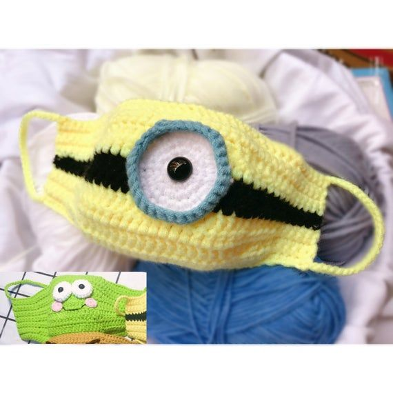 Crochet Pattern Face Mask Pdf Tutorial Minions And Frog Cute Mask