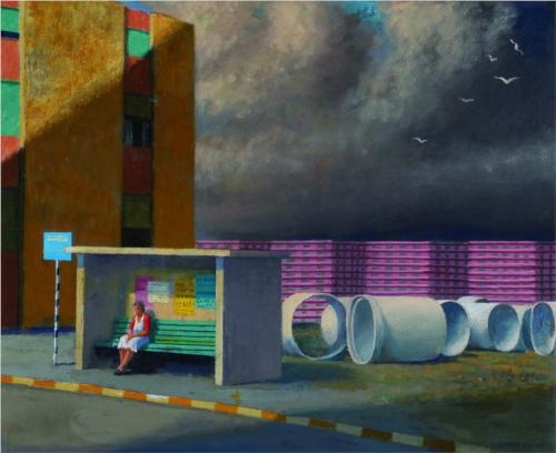 Study for 'The Bus Stop' - Jeffrey Smart