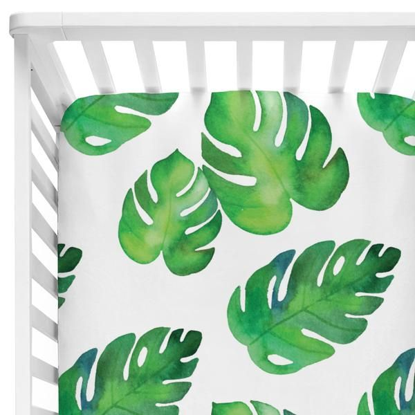 We love the palm design trend! This tropical green palm crib sheet is perfect for your gender neutral or boys boho or eclectic inspired nursery!