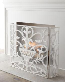 "H6UV0 ""White Urn"" Fireplace Screen"