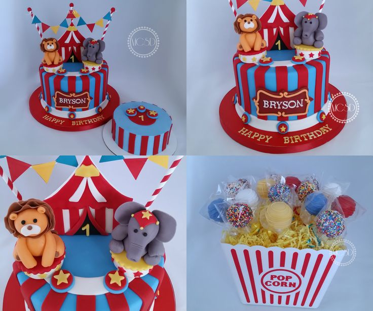 Carnival *Circus 1st birthday cake, Smash Cake and Cake pops