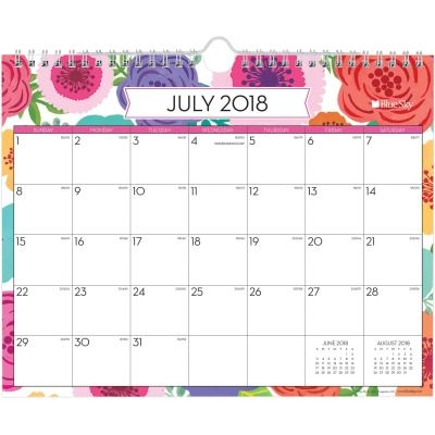 BlueSky Mahola Academic Monthly Wall Calendar This floral academic