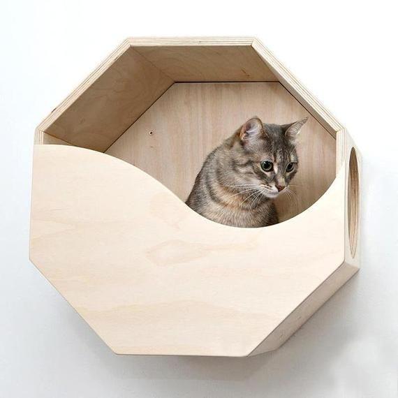 Wooden Cat Furniture Wood Cat Bed Wooden Cat House Cat Box Etsy In 2020 Cat Bed Wood Cat Wooden Cat House