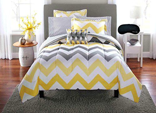 Trendy Yellow Gray Teen Girls Twin Chevron Comforter
