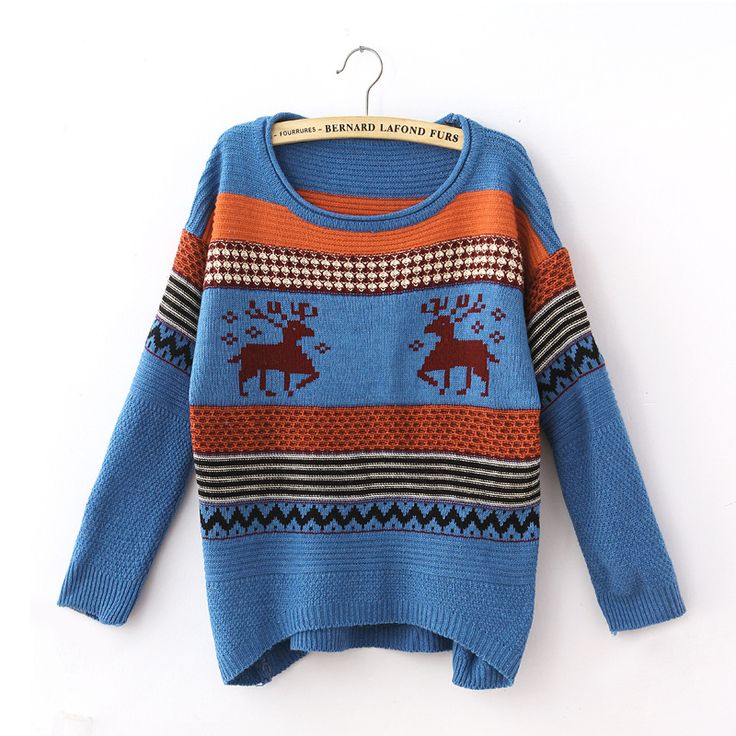 Blue Striped Tacky Reindeer Womens Christmas Jumper Sweater For Sale! Fast Shipping! pinkqueen.com