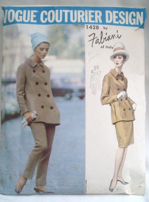 Vintage 1960s Vogue Couturier Pattern 1428 Designer Fabiani Pants