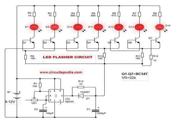 Pin On Led Flasher Circuit