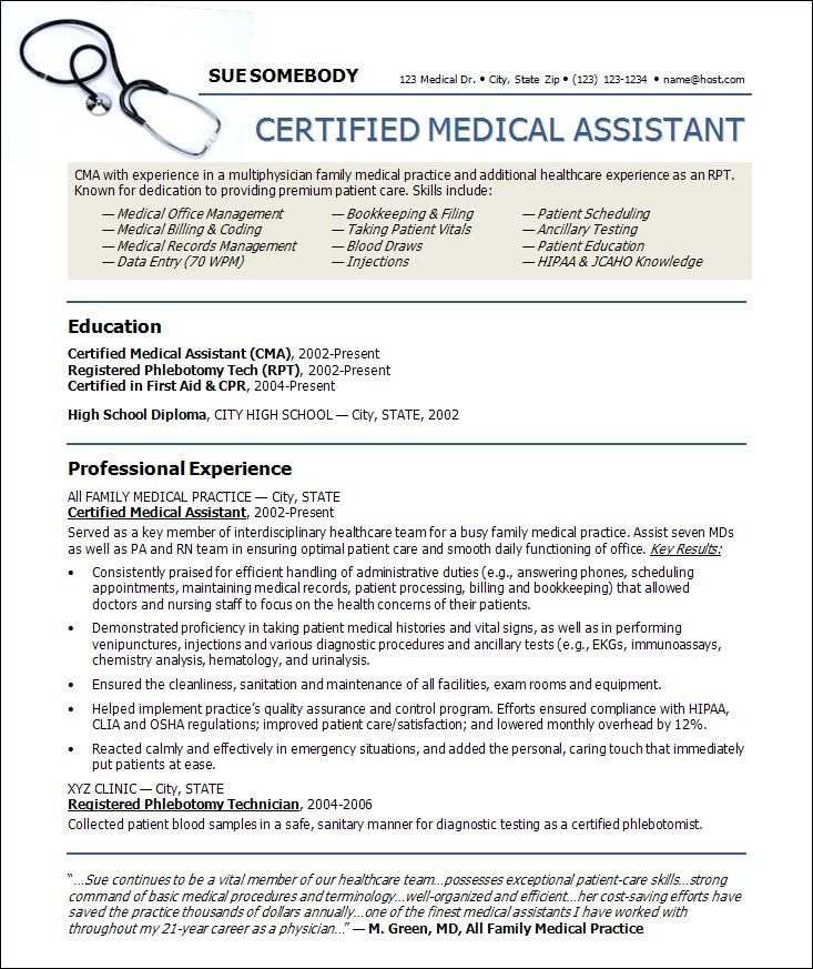 Resume Sample: Receptionist Or Medical Assistant. Medical Doctor ...