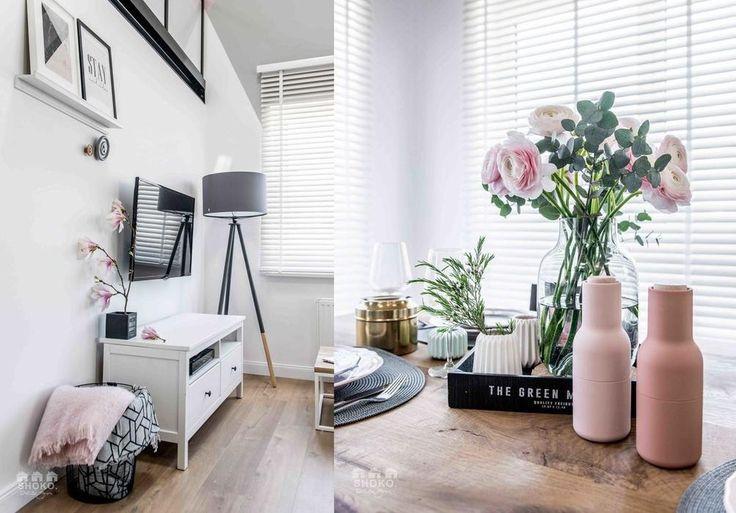 Pudrowa aranżacja wnętrza mieszkania