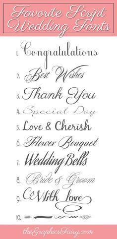 Favorite Script Wedding Fonts - The Graphics Fairy