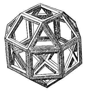 Illustration of polyhedra from the painting Luca Pacioli's Polyhedra