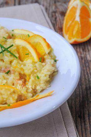 Risotto all'arancia e gamberetti, primo piatto facile, ricetta autunnale, primo per pranzo, cena, ricetta per menu a base di pesce, ricette con l'arancia, mare e monti