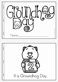 Groundhog Day Preschool Math and Literacy No Prep worksheets and activities. A page from the unit: Groundhog Day reader with comprehension page