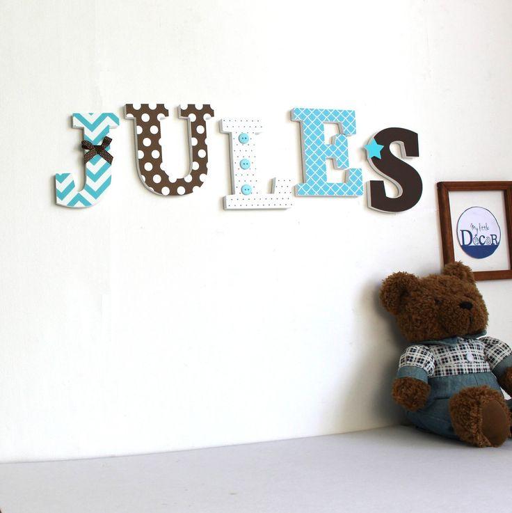 Lettres en bois JULES turquoise et chocolat - cadeau de naissance - lettres décoratives - grand prénom - mylittledecor : Autres bébé par mylittledecor