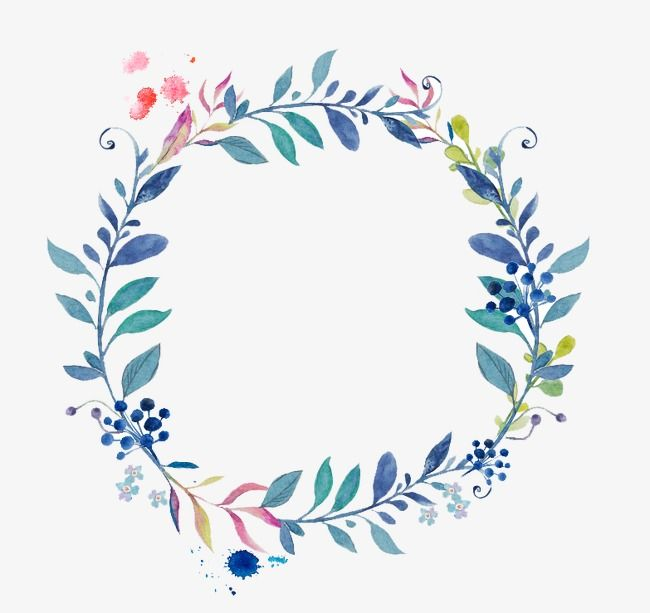 Small Fresh Hand Painted Blue Border Watercolor Flowers Wreath