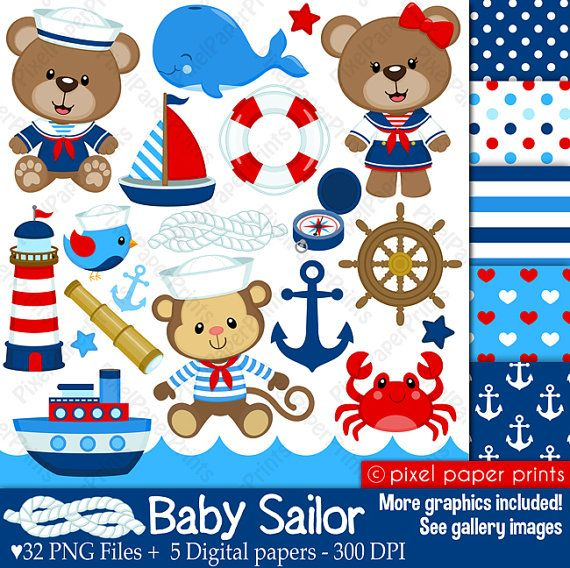 Baby Sailor - Clip art and digital paper set - Nautical clipart