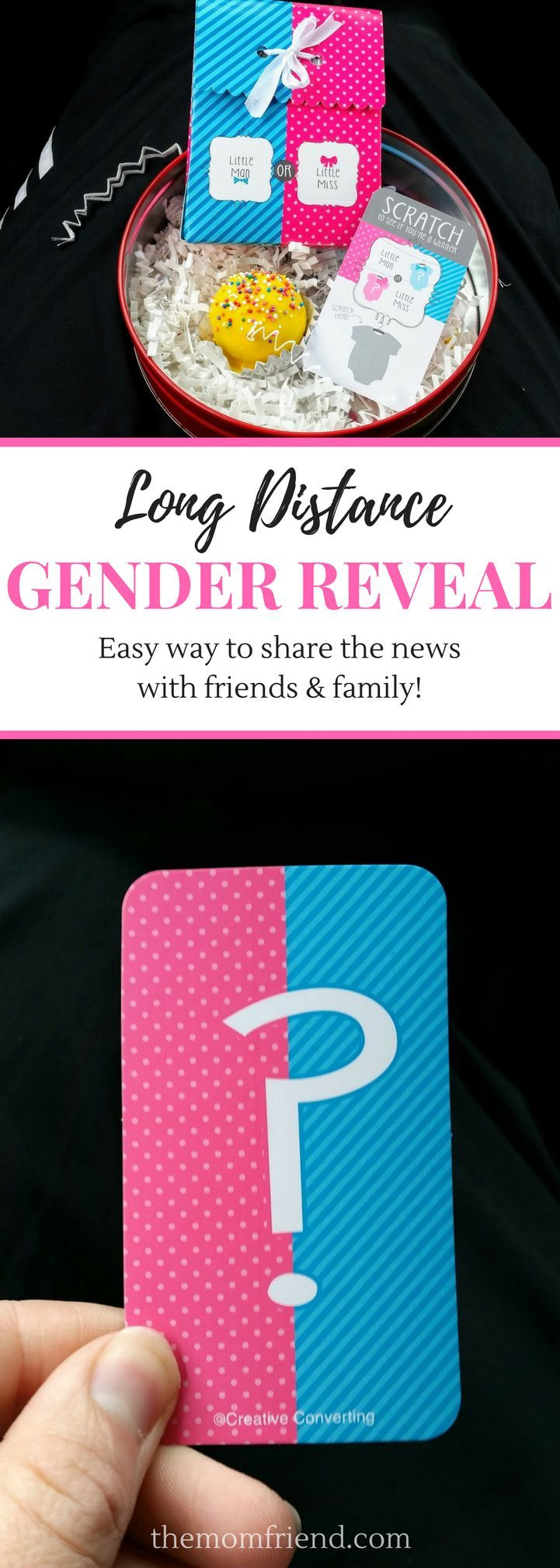 Great idea for a gender reveal for long distance family! 5 easy steps to hold a gender reveal party as soon as you find out with long distance relatives.   Baby boy gender reveal, baby girl gender reveal, gender reveal truffle, gender reveal scratcher, pr
