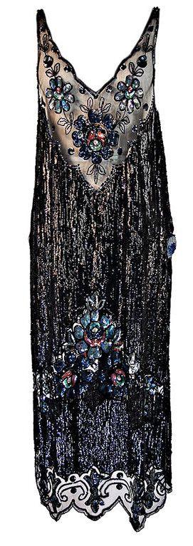 1920s Silk Net Sequin Flapper Over Dress ~
