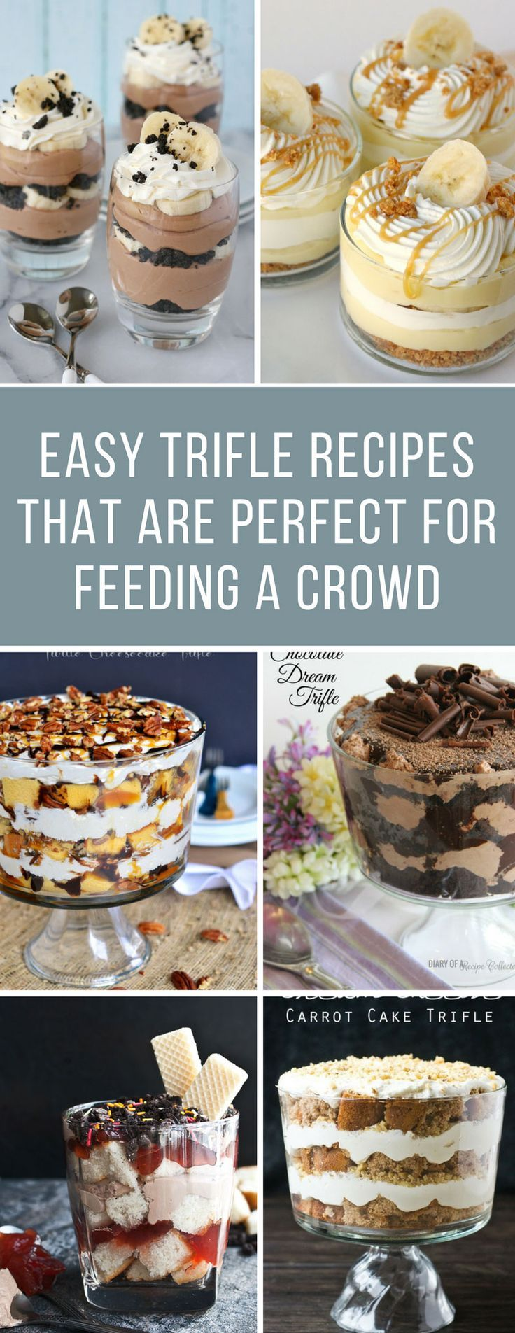 Easy Trifle Recipes for a Crowd - These trifles are delicious and are perfect for Christmas gatherings - and even book clubs and pot luck too! #trifle #recipes #christmas