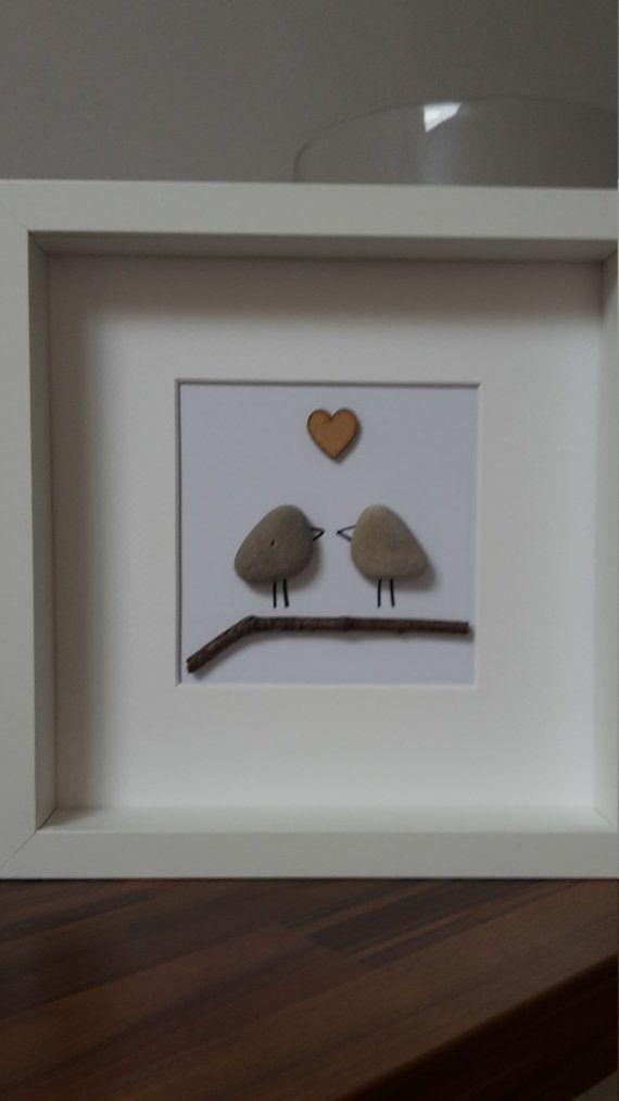 Love Birds - amour art - art - cadeau personnalisé d'art - cadeau de mariage de photo - cadeau Saint-Valentin - galets - galets - amour le tableau