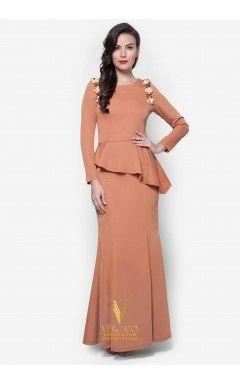 Baju Kurung Moden Peplum - Vercato Laila in Brown
