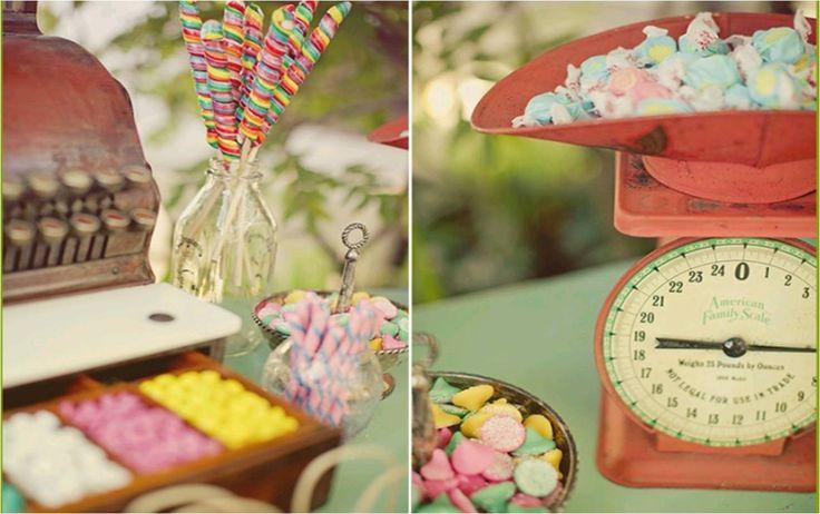 Vintage Wedding Reception | Vintage scale and cash register used for wedding reception candy bar ...