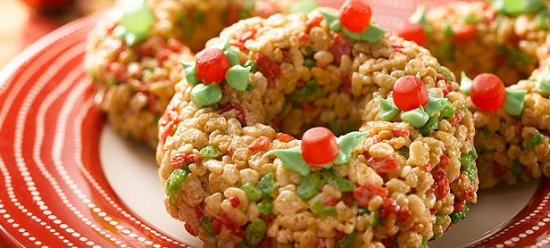 Rice Krispies Wreaths #ricekrispies #wreath #treats #holidaybaking #recipe