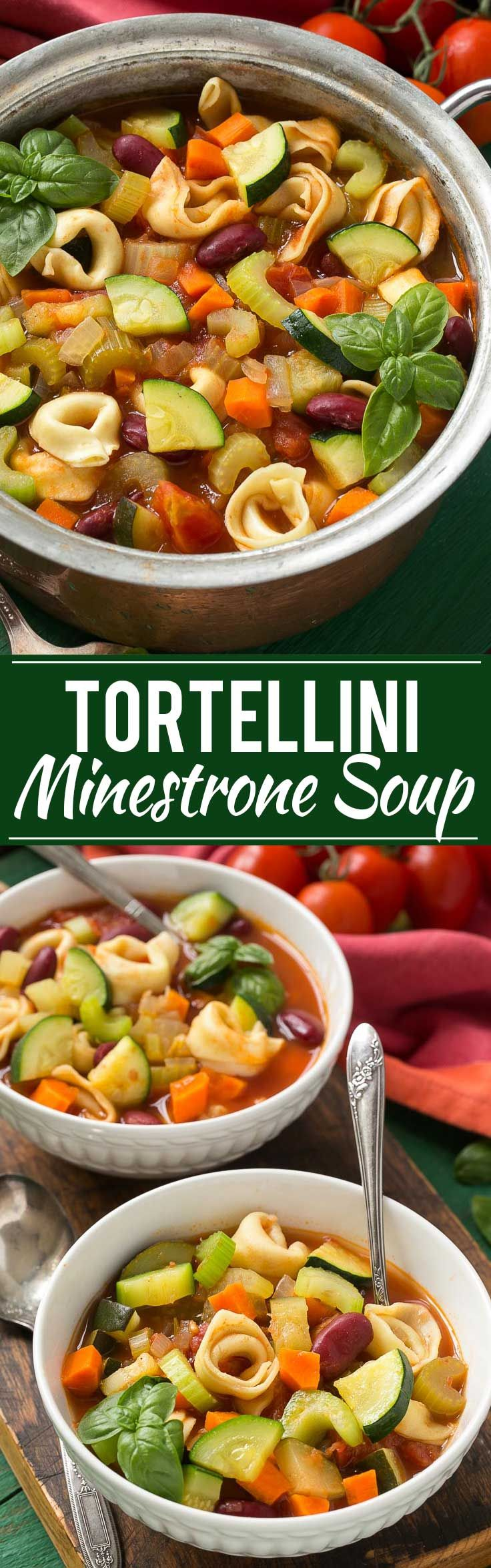 This one pot healthy minestrone soup is chock full of vegetables and tender cheese tortellini.
