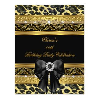 Leopard Gold Birthday Party Elegant Diamond Black 11 Cm X 14 Cm Invitation Card