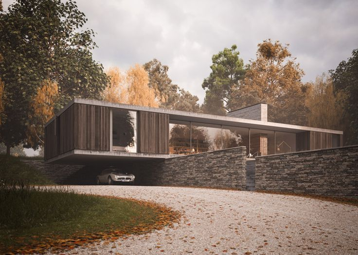 Strom Architects designs a cantilevered house hanging over a wall (rendering shown)