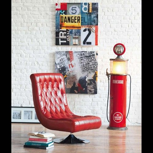 Metal and wood CD rack and lamp in red H 152cm