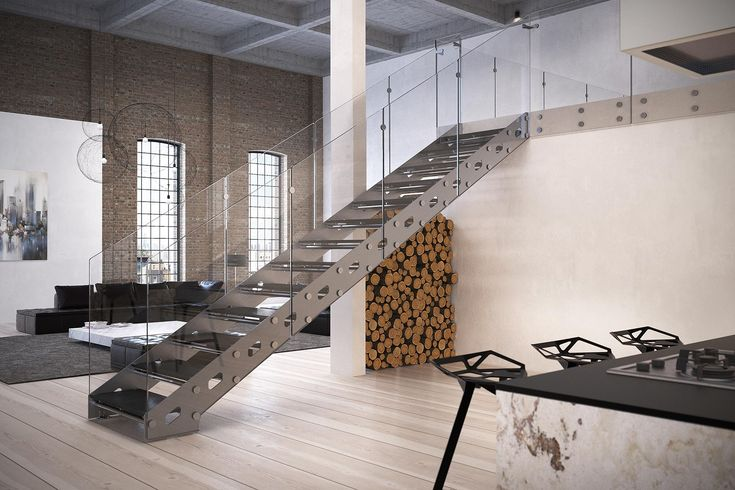 Stairs steel helical and day model Rialto. Concept modern clean lines with glass details. Steell Staircases and design.