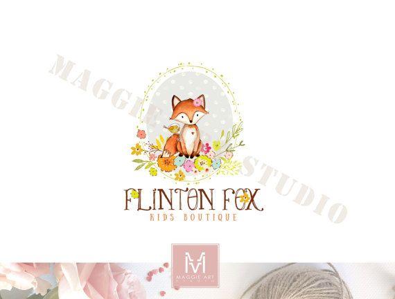 Fox Logo,Floral Logo, Photography Logo,Artisan Logo, Boutique Logo ,Forest Logo, Decor Logo, Stamp Logo, Logo,Watermark