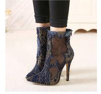 Sexy Cut Outs mujeres botines delgadas tacones altos bombas para mujer primavera y verano moda tamaño de arranque corto Botas Sapatos Femininos