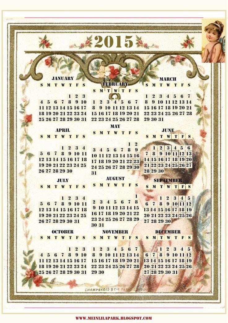 Free printable 2015 vintage calendar - ausdruckbarer Kalender 2015 - freebie | MeinLilaPark – DIY printables and downloads