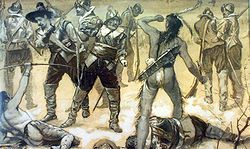 The Pequot War was an armed conflict spanning the years 1634–1638 between the Pequot tribe against an alliance of the Massachusetts Bay, Plymouth, and Saybrook colonies who were aided by their Native American allies (the Narragansett and Mohegan tribes). Hundreds were killed; hundreds more were captured and sold into slavery to the West Indies. Other survivors were dispersed. At the end of the war, about seven hundred Pequots had been killed or taken into captivity.