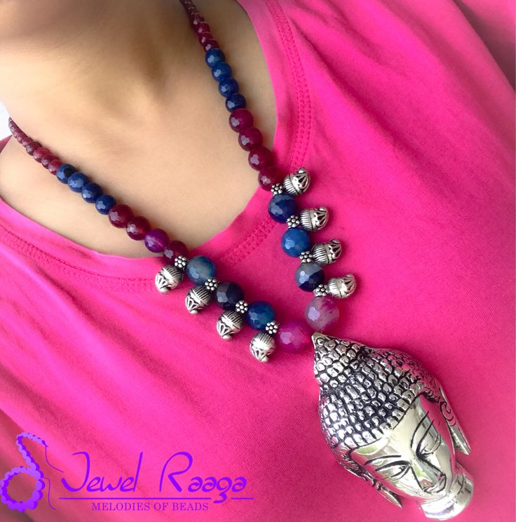 Chunky Buddha pendant with gradient agate beads and Kolhapuri paisley charms #buddhapendant #Chunkypendant #Handmadenecklace #Semipreciousnecklace #Paisleycharms