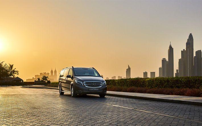 Download imagens Mercedes V-Classe, 4k, W447, Dubai, vans, Mercedes-Benz Vito, carros alemães