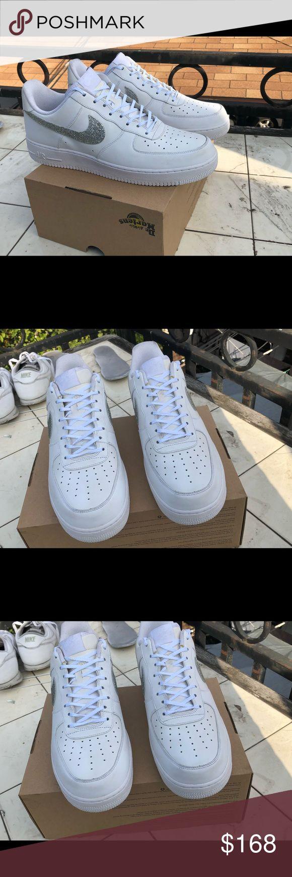 Nike Custom Glitter Swoosh White Air Force 1 Sz 14 Great