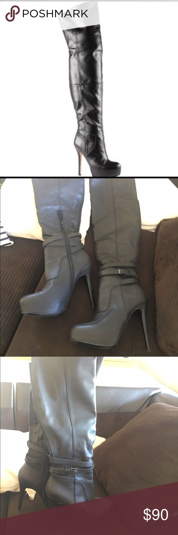 Black Aldo thigh high boots Black leather platform boots, never been worn. BRAND NEW. 5 inch heel. Height is 24 inches, zip closure. Aldo Shoes Over the Knee Boots