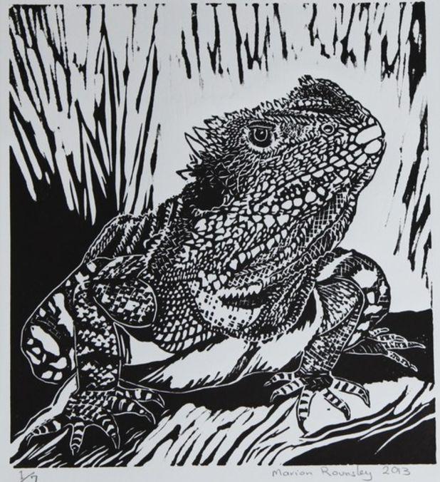 Water Dragon - lino print 2013 - Marion Rounsley, Australia
