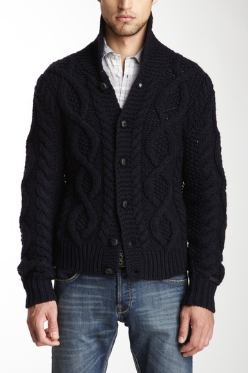 Diesel Men Navy Blue Wool Blend Gage Sweater