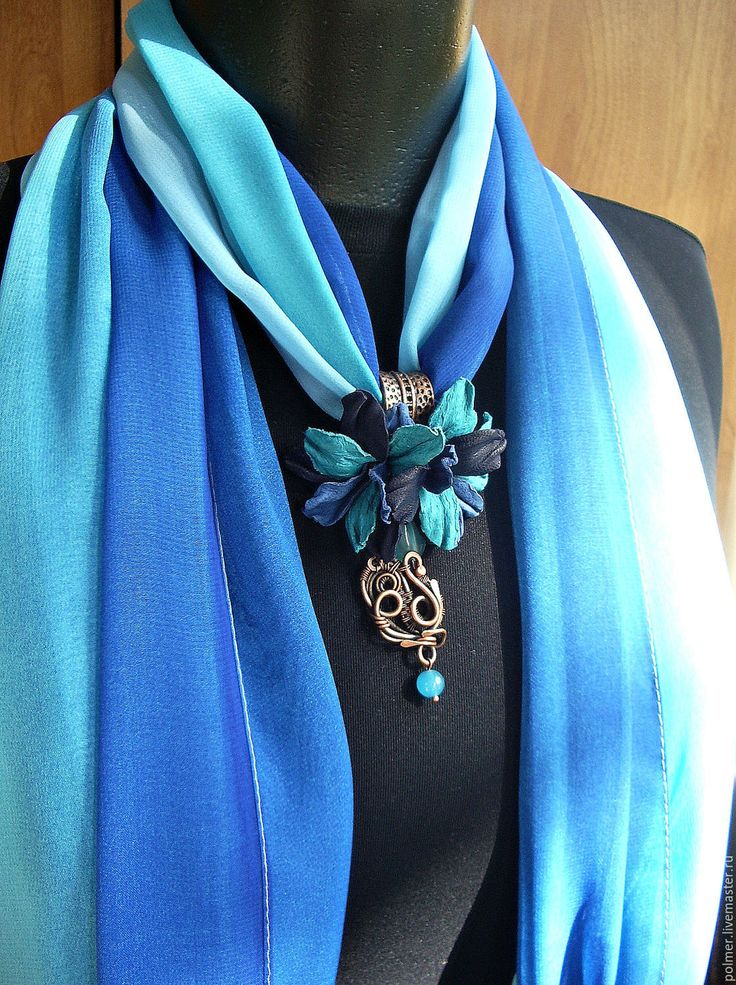 Купить Шарф-колье Бирюзовая сюита - шарф, шарф с подвеской, шарф-колье, шарф-ожерелье