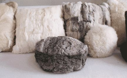 reclaimed, recycled rabbit fur pillow made from vintage rabbit coat by The Coat Check