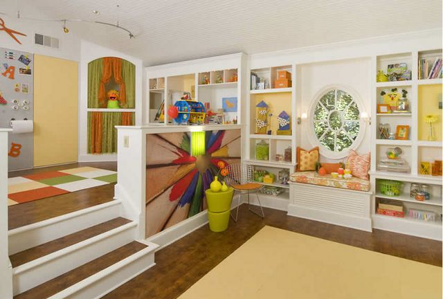 How cool is this kid space?  Totally doable for homeschooling.  I can see a little Abe Lincoln giving is address from the top of the stairs.