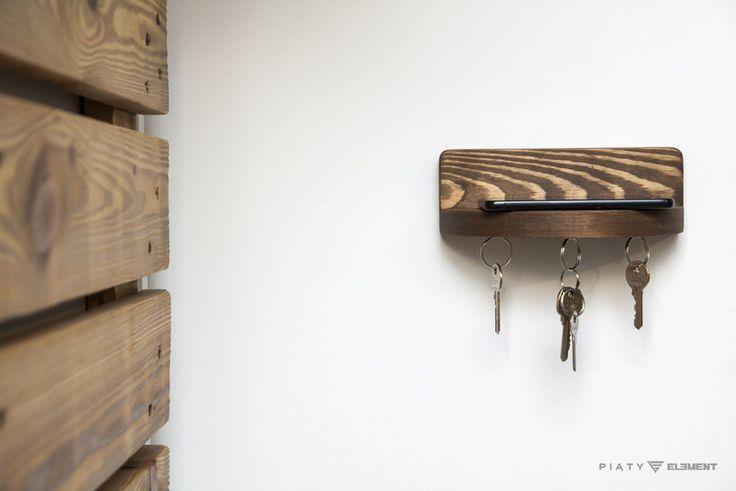 Wieszak na klucze - drewniana półeczka z magnesami - 5_Element - Szafki na klucze
