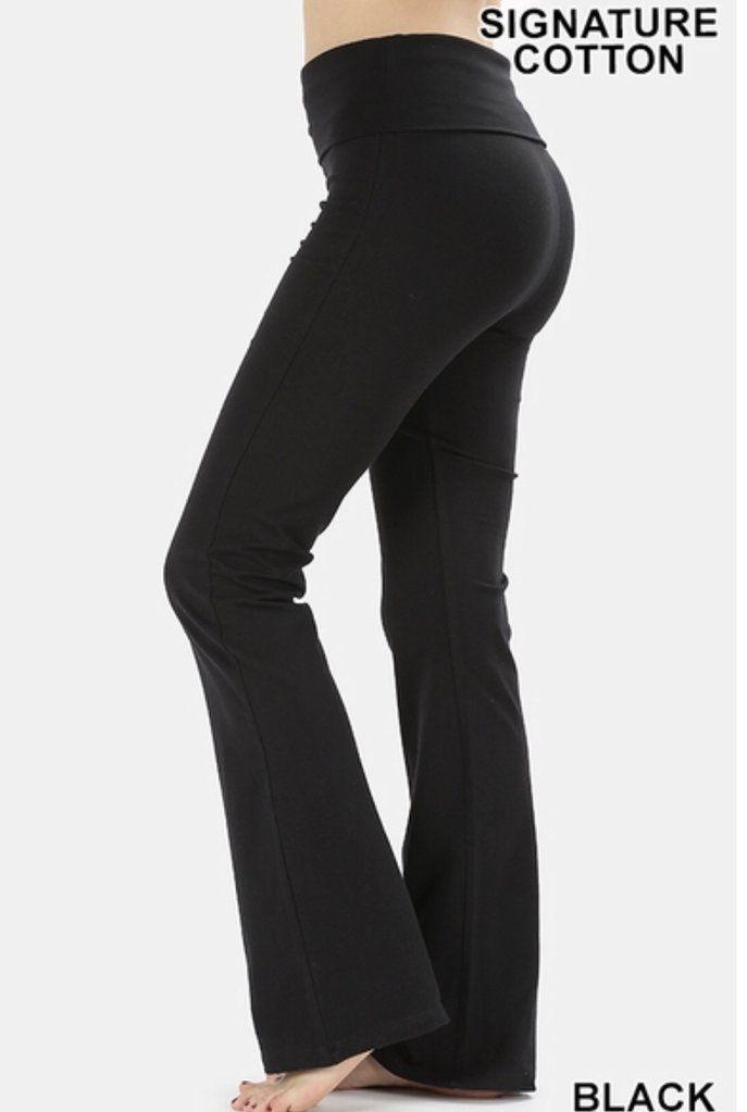 d2bdca018f 29.99 HIGH QUALITY SIGNATURE COTTON FOLD-OVER YOGA PANTS Colors - Black &  Charcoal TOTAL WAIST: 27 1/2