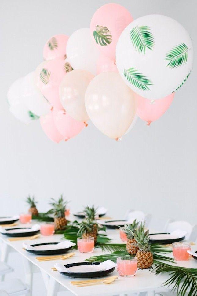 Love this palm fronds + bon bons spring party theme idea.
