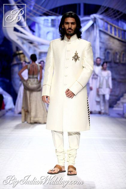 JJ Valaya white bandhgala for men