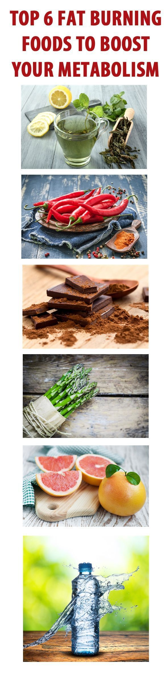 6 FAT BURNING FOODS TO BOOST YOUR METABOLISM:   If you're trying to shift a bit of unwanted flab what you eat is vitally important, and choosing ingredients that speed up your metabolic rate could be the key to amazing results.  Add these to your shopping list and see if you notice the difference... #weightloss #loseweight #nutrition #fatburning